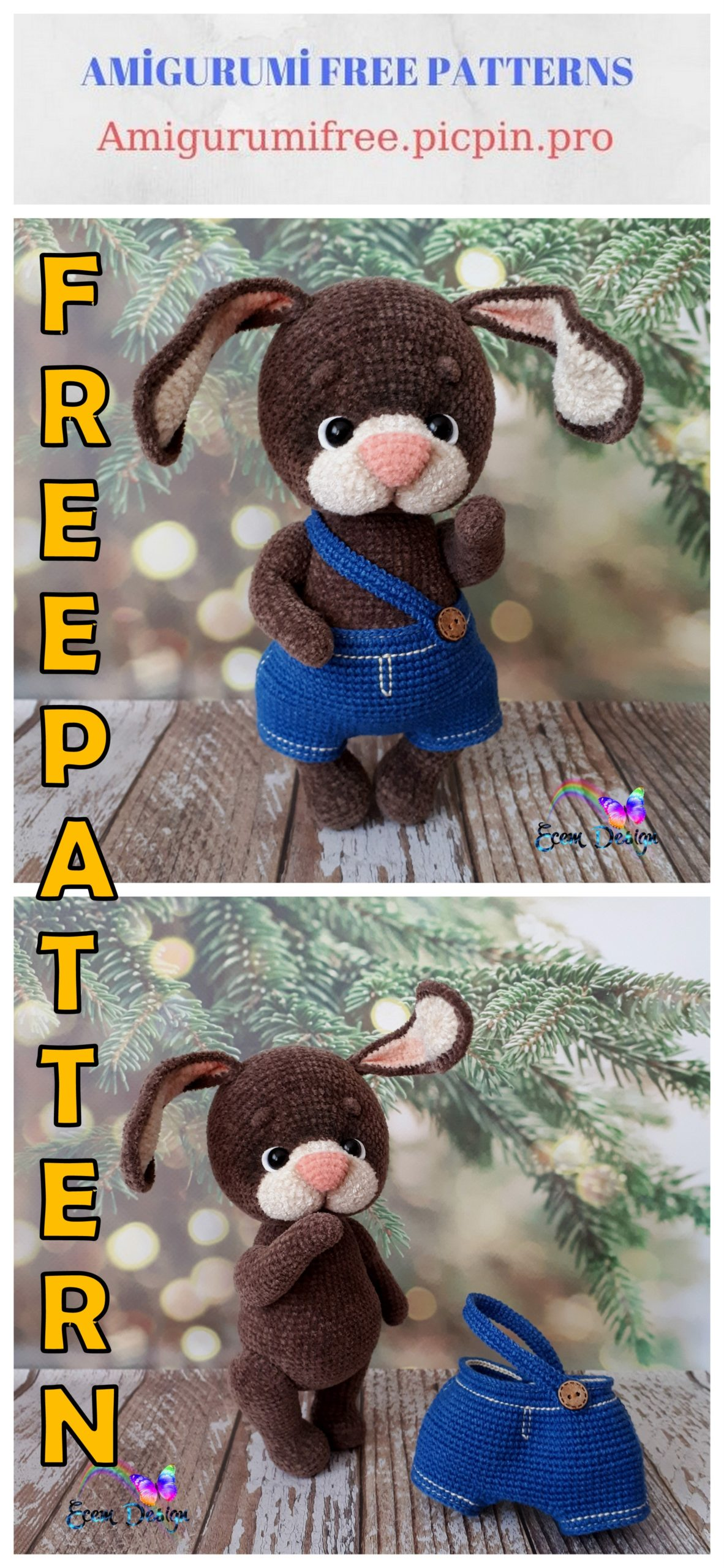 Velvet Bunny Amigurumi Free Crochet Pattern | Crochet patterns ... | 2560x1182