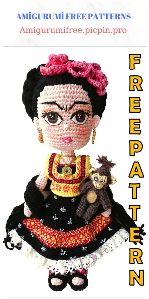 Amigurumi Doll Frida Kahlo Free Crochet Pattern