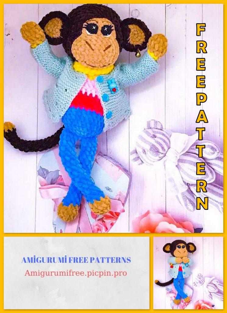 Amigurumi Velvet Rainbow Monkey Free Crochet Pattern