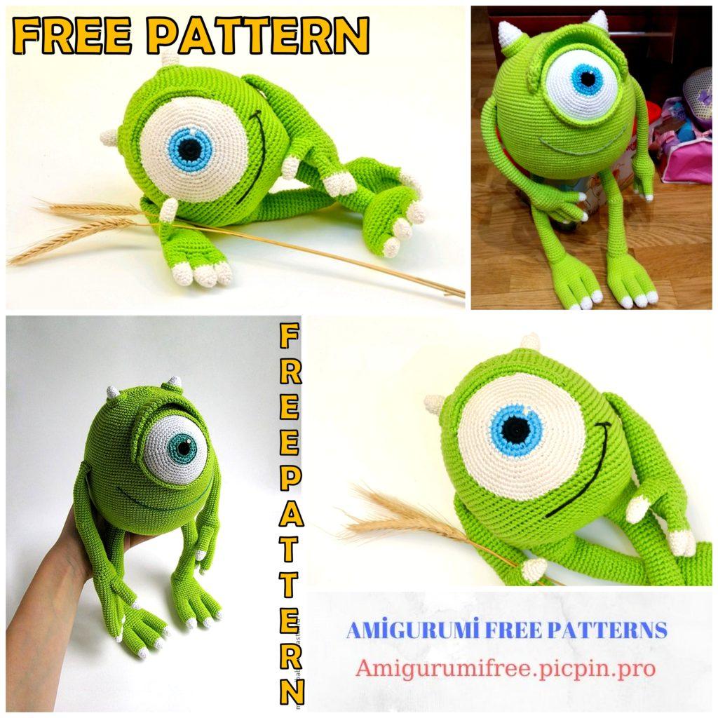 Amigurumi Mike Wazowski Free Crochet Pattern
