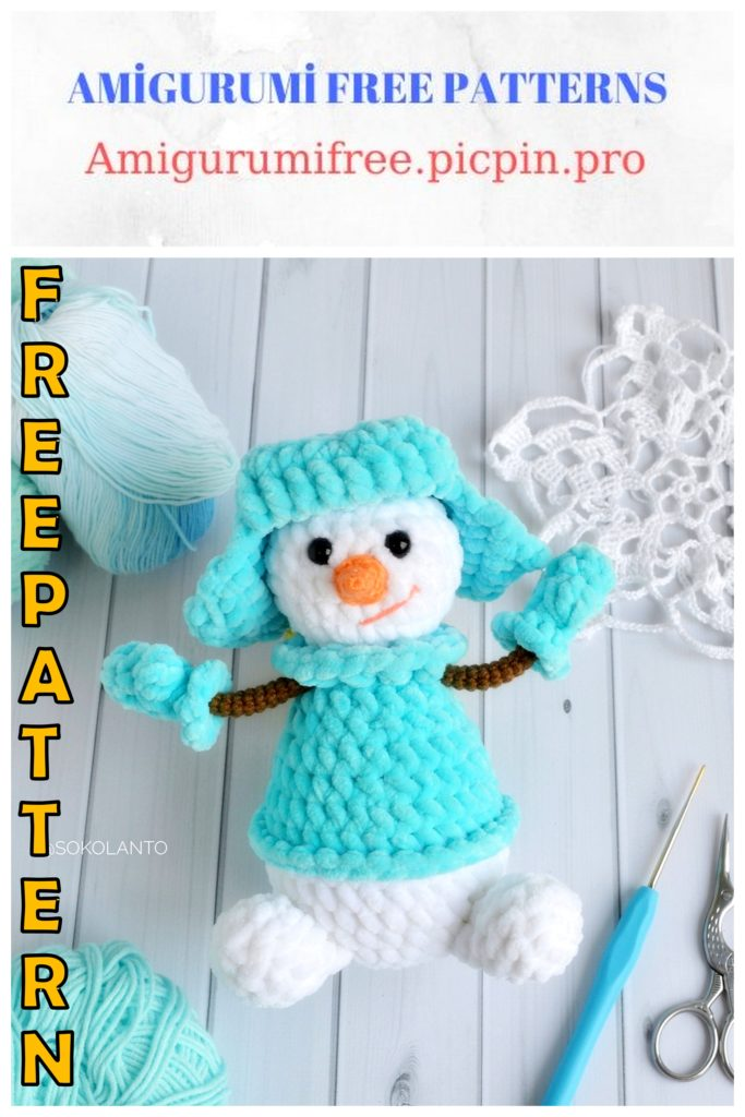 Amigurumi Velvet Cute Snowman Free Crochet Pattern